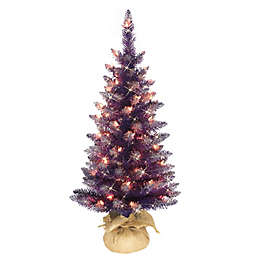 Puleo International 3-Foot Pre-Lit Artificial Holiday Christmas Tree in Purple