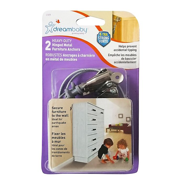 Alternate image 1 for Dreambaby® 2-Pack Hinged Anti-Tip Furniture Anchors in Silver