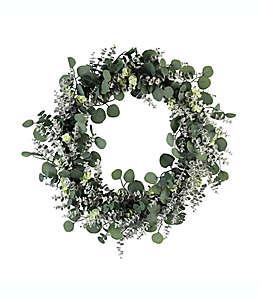 Corona de eucalipto artificial