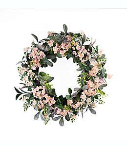 Corona de flores mixtas artificiales color rosa