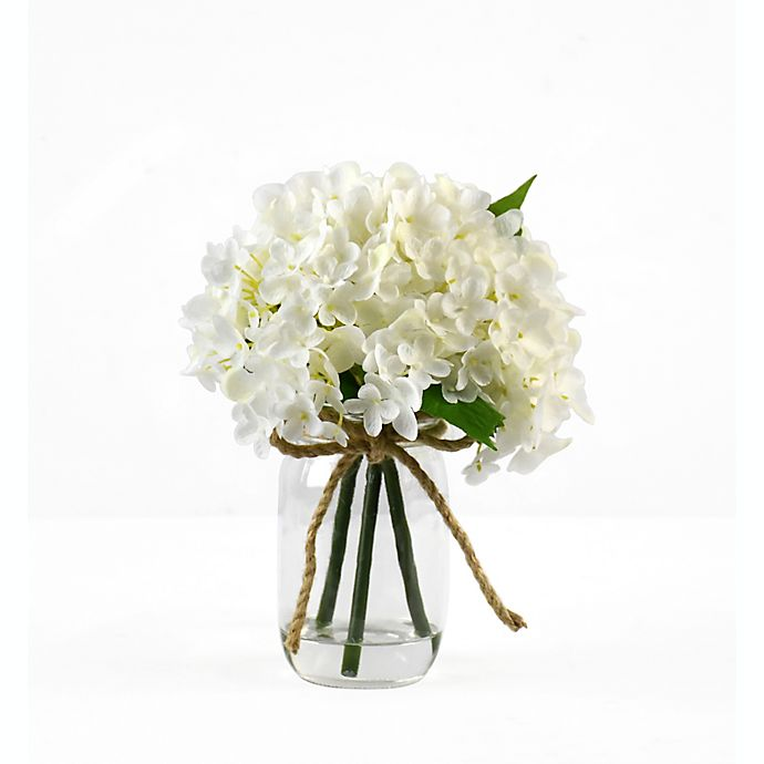 Alternate image 1 for Faux Hydrangea Floral Arrangemen with Glass Jar