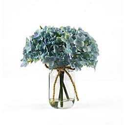 Faux 8-Inch Blue Hydrangea Floral Arrangement with Glass Jar