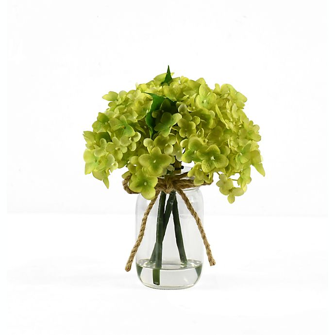Alternate image 1 for Faux 8-Inch Green Hydrangea Floral Arrangement with Glass Jar