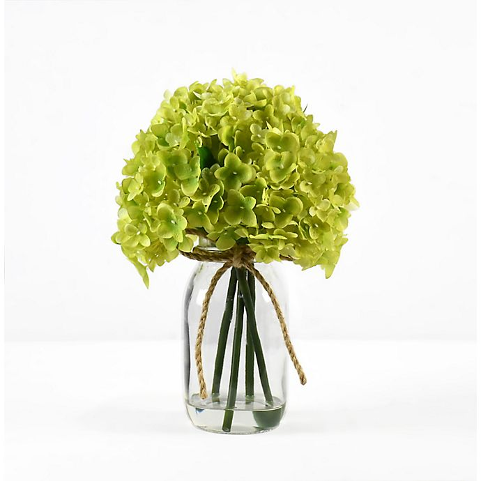 Alternate image 1 for Faux 12-Inch Green Hydrangea Floral Arrangement with Glass Jar