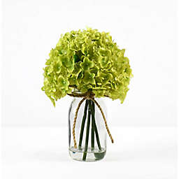 Faux 12-Inch Green Hydrangea Floral Arrangement with Glass Jar