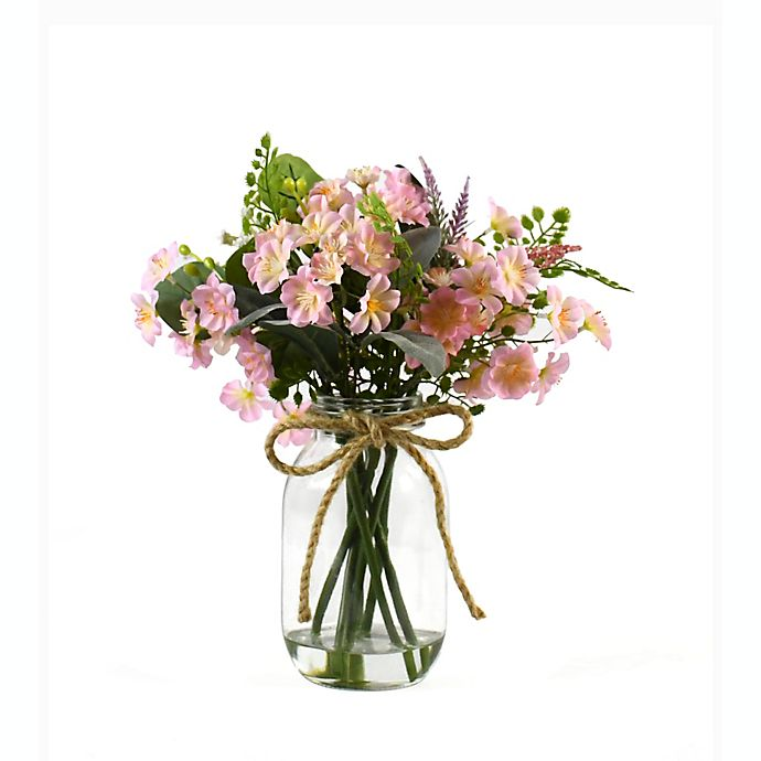 Alternate image 1 for Faux Pink Floral Arrangement in a Glass Jar