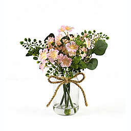 12-Inch Faux Pink Floral Arrangement in a Glass Jar