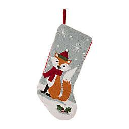 Glitzhome® Fox Hooked Christmas Stocking