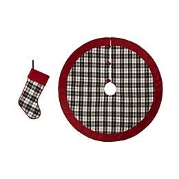 Glitzhome® 2-Piece Plaid Stocking and Tree Skirt Set in Black/White