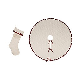 Glitzhome® 2-Piece Knit Stocking and Tree Skirt Set in White<br />