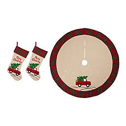 Glitzhome® 3-Piece Embellished Red Truck Stocking and Tree Skirt Set