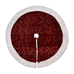 Glitzhome® Faux Fur Cuff Christmas Tree Skirt in Red
