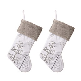 Glitzhome® Sequin Tree Stockings in White/Grey (Set of 2)