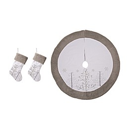 Glitzhome® 3-Piece Fleece Stocking and Tree Skirt Set in White/Grey<br />