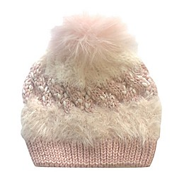 Toby Fairy™ Mixed Yarn Faux Fur Pom Cable Hat in Desert Rose