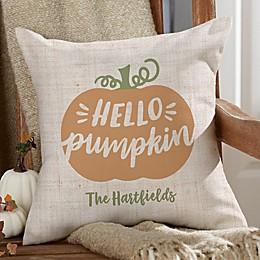 """""""Hello Pumpkin"""" Square Indoor/Outdoor Throw Pillow"""