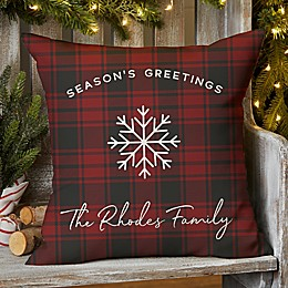 Christmas Plaid Square Indoor/Outdoor Throw Pillow