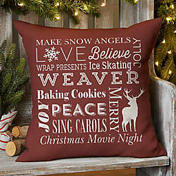 Holiday Traditions Square Outdoor Throw Pillow