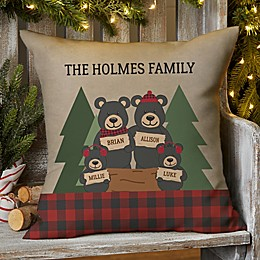 Holday Bear Family Square Outdoor Throw Pillow