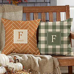 Fall Harvest Custom Pattern Square Outdoor Throw Pillow