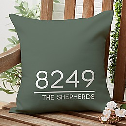 Home Address Square Outdoor Throw Pillow