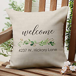"""Greenery """"Welcome"""" Square Outdoor Throw Pillow"""