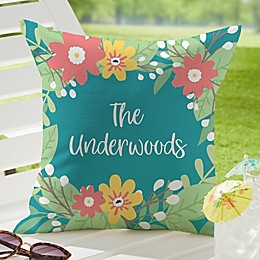 Summer Florals Square Outdoor Throw Pillow