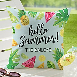 Tropical Fruit Square Outdoor Throw Pillow