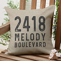 Rustic Address Square Outdoor Throw Pillow