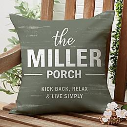 Farmhouse Family Square Outdoor Throw Pillow
