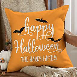 """Happy Halloween"" Square Outdoor Throw Pillow"