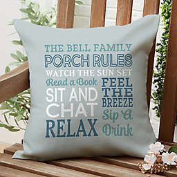 Porch Rules Square Outdoor Throw Pillow