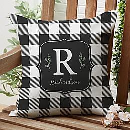 Buffalo Check Square Outdoor Throw Pillow in Black/White