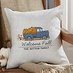Classic Fall Vintage Truck Square Outdoor Throw Pillow
