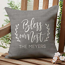 """""""Bless Our Nest"""" Square Outdoor Throw Pillow"""