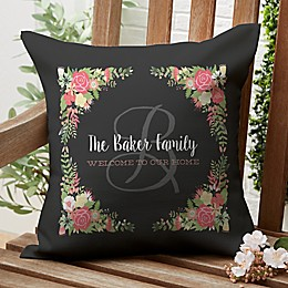 Posh Floral Welcome Personalized 16-Inch Square Outdoor Throw Pillow