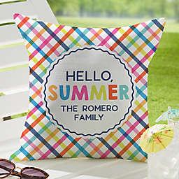 """Hello Summer "" Square Outdoor Throw Pillow"