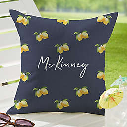 Lush Lemons Square Outdoor Throw Pillow