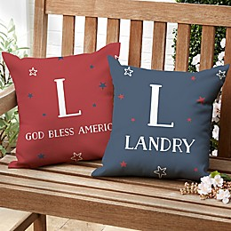 Stars and Stripes Square Outdoor Throw Pillow
