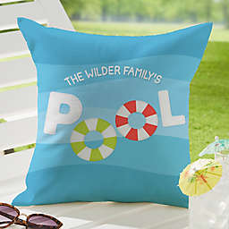 Pool Welcome Square Outdoor Throw Pillow