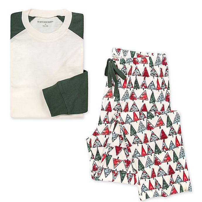Alternate image 1 for Burt's Bees Baby® Men's 2-Piece O Christmas Tree Organic Cotton Pajama Set