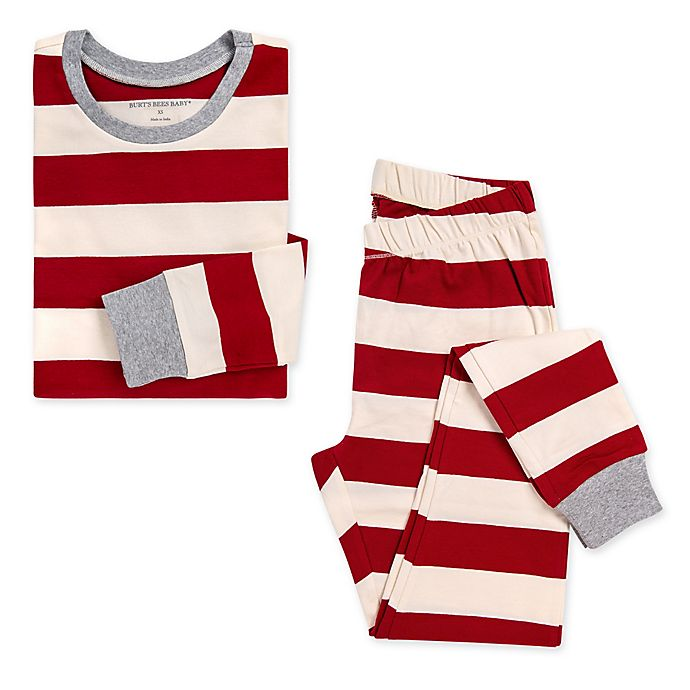 Alternate image 1 for Burt's Bees Baby® Women's 2-Piece Rugby Stripe Organic Cotton Pajama Set