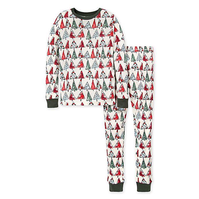 Alternate image 1 for Burt's Bees Baby® O Christmas Tree 2-Piece Big Kids Organic Cotton Pajama Set