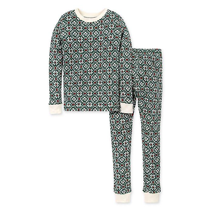 Alternate image 1 for Burt's Bees Baby® Child's 2-Piece Diamond Fair Isle Organic Cotton Pajama Set