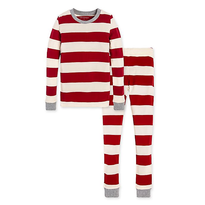 Alternate image 1 for Burt's Bees Baby® Big Kids 2-Piece Rugby Stripe Organic Cotton Pajama Set
