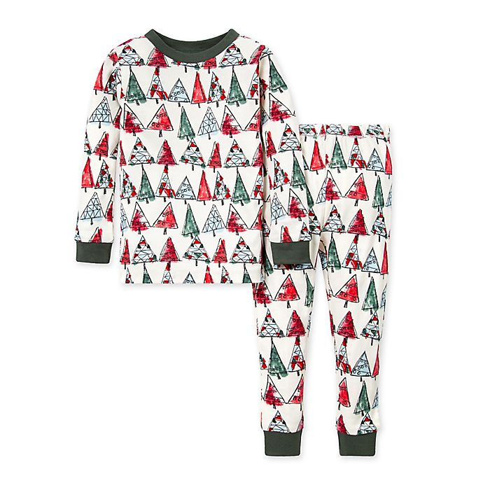 Alternate image 1 for Burt's Bees Baby® 2-Piece O Christmas Tree Organic Cotton Pajama Set