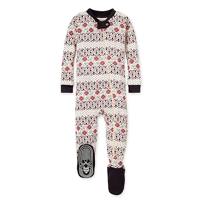 Alternate image 1 for Burt's Bees Baby® Newborn Bold Fair Isle Organic Cotton Footie in Ivory/Red