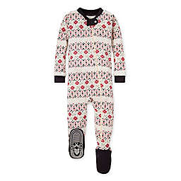 Burt's Bees Baby® Newborn Bold Fair Isle Organic Cotton Footie in Ivory/Red