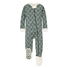 Burt's Bees Baby® Diamond Fair Isle Organic Cotton Footie in Spinach