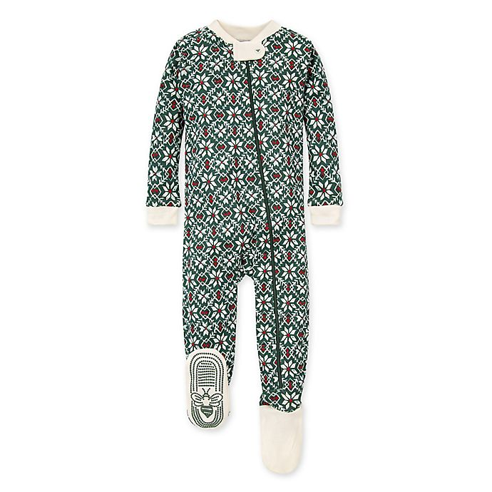 Alternate image 1 for Burt's Bees Baby® Diamond Fair Isle Organic Cotton Footie in Spinach